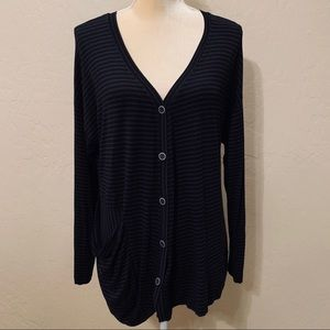 LILITH Soft Knit Striped Cardigan Sweater